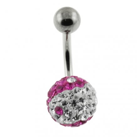 Crystal stone SS Bar Banana Curved Belly Ring FDBLY257