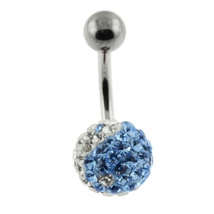 Multi Crystal stone Jeweled Curved 316L SS Belly Ring FDBLY259