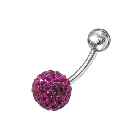 Pink Crystal stone Jeweled With 316L SS Banana Belly Ring body Jewelry