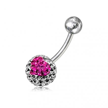 Mix Color Crystal stone Heart Jeweled Banana Bar Belly Ring