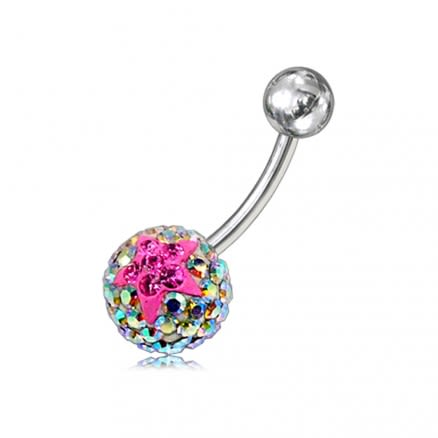 Multi Color Crystal stone With Pink Jeweled Star SS Banana Navel Belly Ring