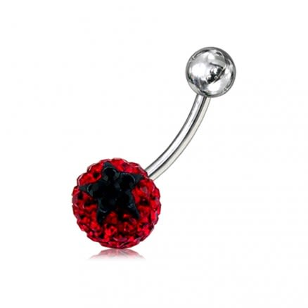 Glitter Red And Black Crystal stone Jeweled Star Banana Bar Belly Ring