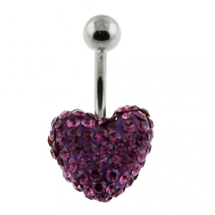 Fancy Crystal stone Heart With Banana Bar navel Belly Ring FDBLY278