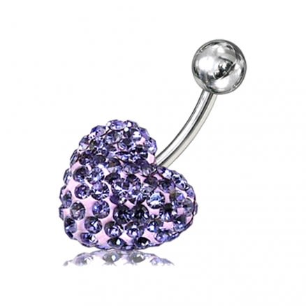 Glitter Blue Crystal stone Heart Navel Body Jewelry Ring FDBLY279
