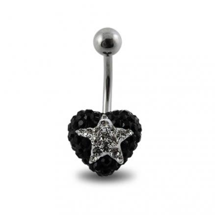 Black Crystal stone With White Star SS Banana Bar Ring