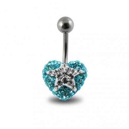 White Crystal stone Star With Surgical Steel Curved Navel Belly Ring