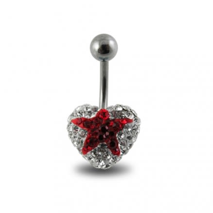 Crystal stone With Red Star With Surgical Steel Banana Bar Navel Ring