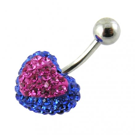 Blue Crystal stone With Pink Heart 316L SS Curved Navel Ring