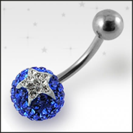Blue And White Crystal stone Jeweled Star With SS Bar Belly Ring FDBLY384