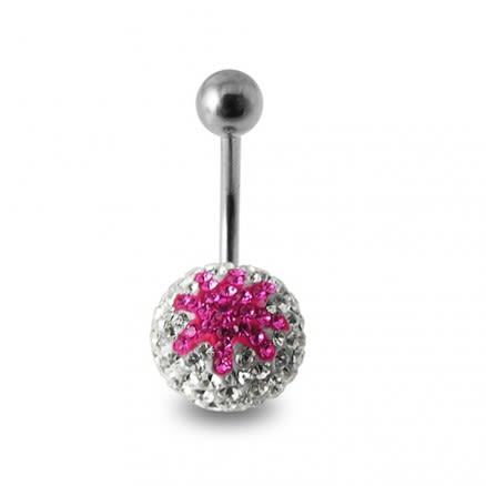 Pink And White Crystal stone Star navel Body Jewelry Ring