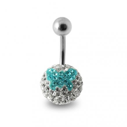 Silver Butterfly Crystal Stone SS Belly Ring
