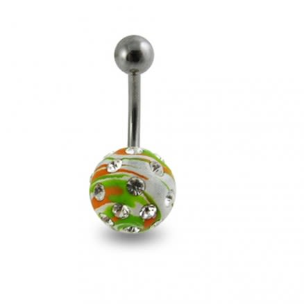 Multi Colored painted Crystal ball belly Ring