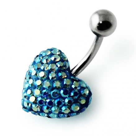 Sky Blue Crystal Stone Heart With Curved Bar Navel Belly Ring FDBLY628