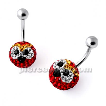 Multi Crystal stone RED Angry Bird Navel Ring