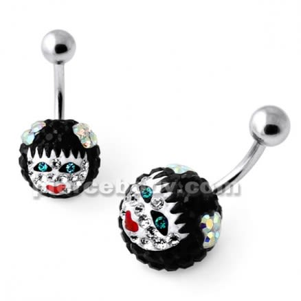 Multi Crystal stone Girl face Cared in Pumpkin belly Ring