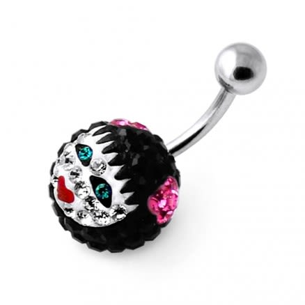 Multi Crystal stone Girl face Carved in Pumpkin Navel belly Ring