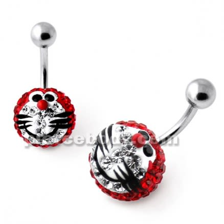 Multi Crystal stone Red Doraemon Navel Ring