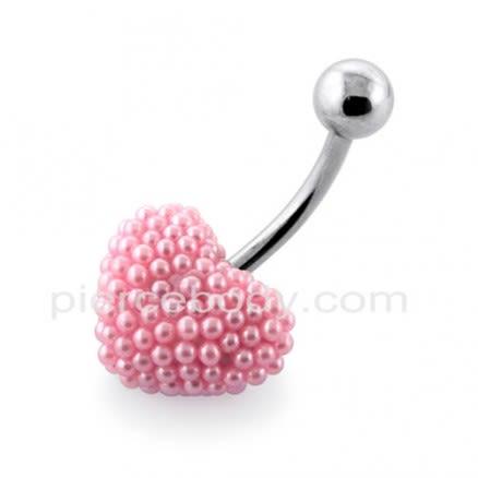 Tiny Pink Pearl balls Heart Navel Banana