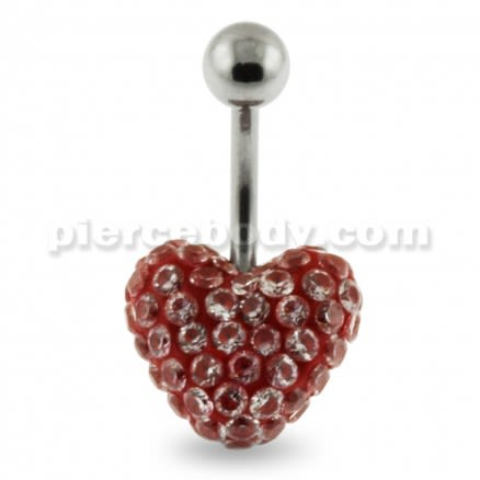 Multi Jeweled Genuine CZ in Red Heart belly button ring