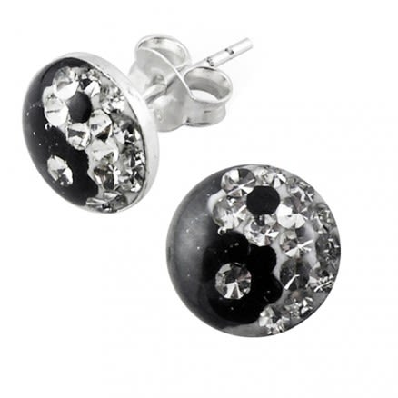 Multi Crystal Ying Yang Earring with Epoxy Cover