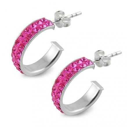925 Sterling Silver  Pink Crystal Earring
