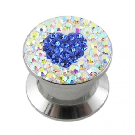 SS Screw Fit Royal Blue Crystal Heart Ear Flesh Tunnel