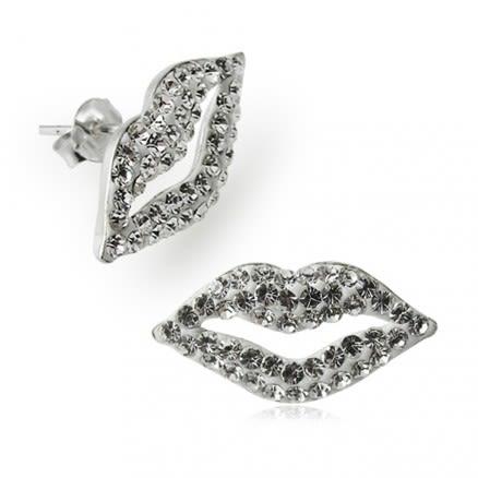 925 Sterling Silver  Crystal Lips Earring
