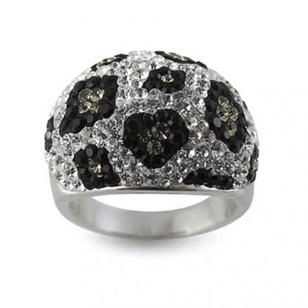 Mix Color Crystal Stone With Football Finger Ring