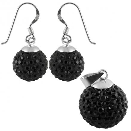 Black Crystal Stone Silver Jewelry Earring Pendant Set
