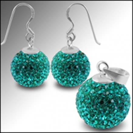 Crystal Stone Studded Earring Pendant Jewelry Set