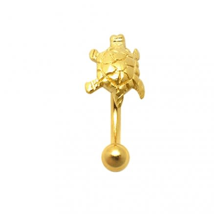 Gold Plated Tiny Turtle Eyebrow Ring
