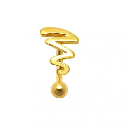 Gold Plated Tribal Zig Zag Eyebrow Ring
