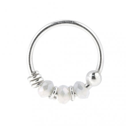925 Silver Light Siam Porcelain Bead Nose Hoop Ring
