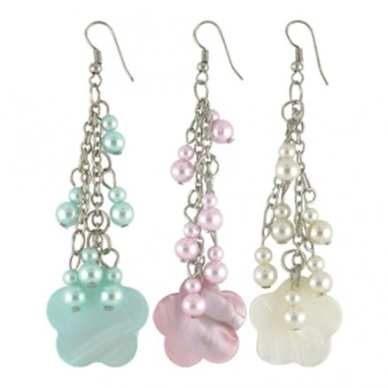 Costume Earrings with Fancy Beads Decorated