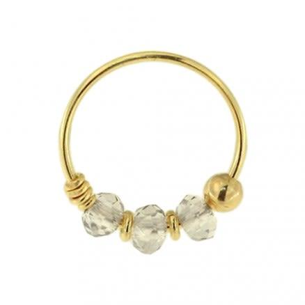 9K Yellow Transperant Grey Bead Nose Hoop Ring