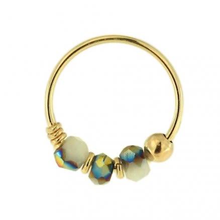 9K Yellow Light Grey Porcelain Bead Nose Hoop Ring