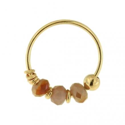 9K Yellow Gold Light Topaz Bead Nose Hoop Ring