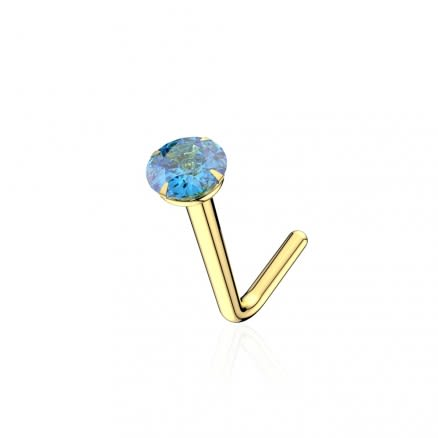 9K Solid Yellow Gold 22G NATURAL SWISS BLUE Round Stone L-Shape Nose Stud