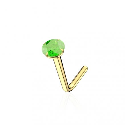 9K Solid Yellow Gold 22G Natural Round Peridot Stone L-Shape Nose Stud