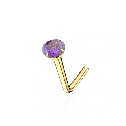9K Solid Yellow Gold 22G Round Natural Amethyst Stone L-Shape Nose Stud