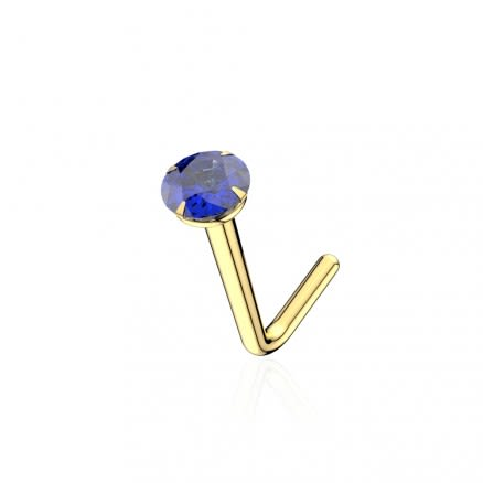 9K Solid Yellow Gold 22G Natural BLUE SAPPHIRE Round Stone L-Shape Nose Stud
