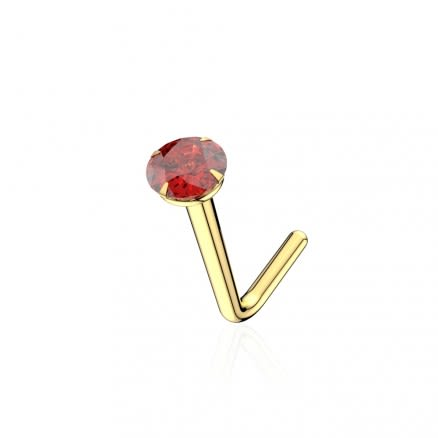 9K Solid Yellow Gold 22G Natural Ruby Round Stone L-Shape Nose Stud