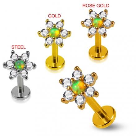 Opal Center Flower Prong set 6 CZ Cartilage Tragus