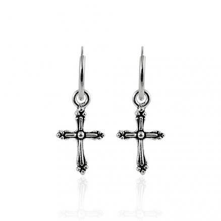 925 Sterling Silver Segment Hoop Ear Ring With Dangling Cross