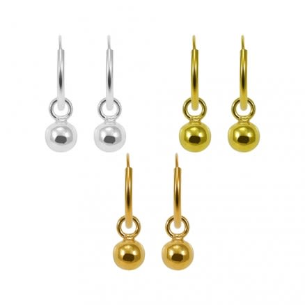 925 Sterling Silver Segment Hoop Ear Ring With Dangling Ball Bead
