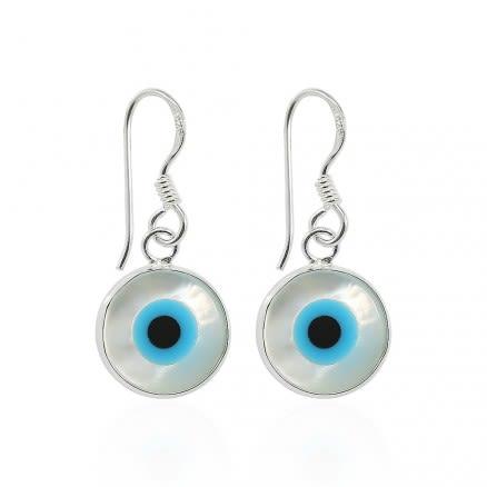 925 Sterling Silver Dangling Double sided evil eye Fish Hook shell Earring
