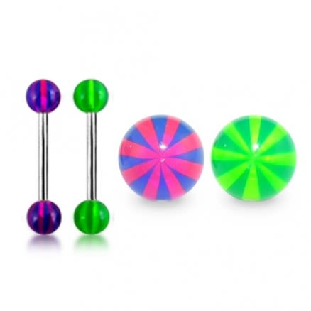 Straight Barbell with Beach UV Balls
