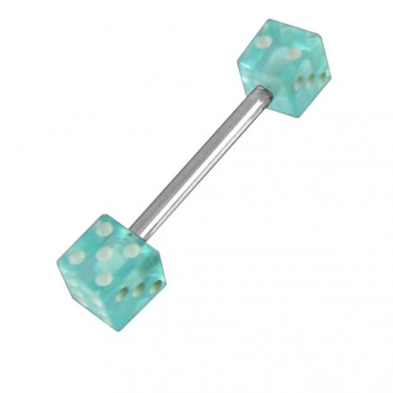 Surgical steel Tongue Barbells with UV Dice