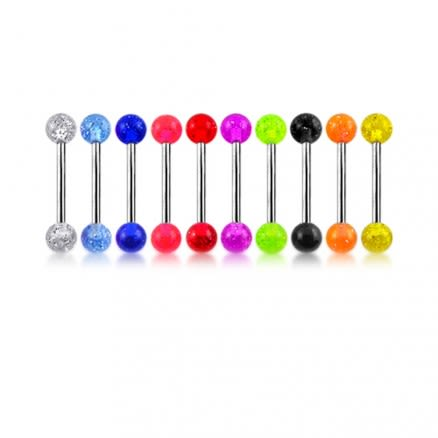 316L Surgical steel Tongue Barbells with UV Glitter Balls