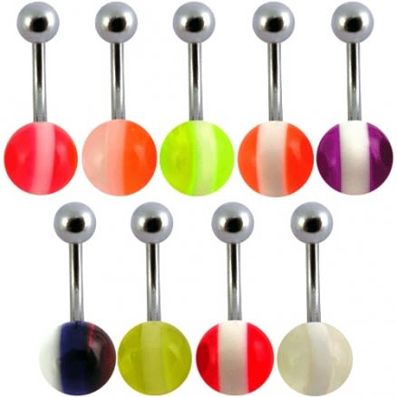 Assorted Basketball Belly Rings With Fancy UV balls